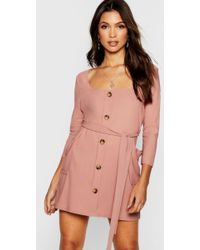 Boohoo - Horn Button Square Neck Pocket Detail Shift Dress - Lyst