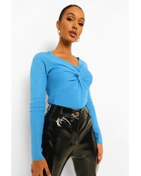 Boohoo - Knot Front Knitted Top - Lyst