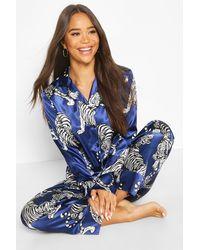 Boohoo Womens Satin-Pyjama Mit Hose, Tiger-Print Und Durchgehender Knopfleiste - Blau