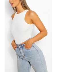Boohoo Rib Racer Front One Piece - White