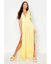Boohoo - Cheesecloth Plunge Maxi Dress - Lyst