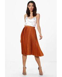Boohoo - Premium Aura Satin Pleated Midi Skirt - Lyst