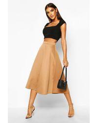 Boohoo Basic Plain Full Circle Midi Skirt - Brown