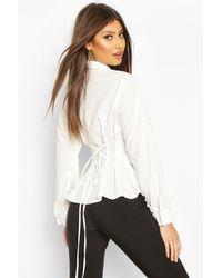 Boohoo Womens Hemd aus Baumwolle mit geraffter Taille - Weiß