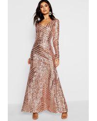 Boohoo Boutique Sequin Long Sleeve Maxi Bridesmaid Dress - Natural