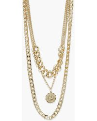 Boohoo Chunky Chain Choker Layered Necklace - Metálico