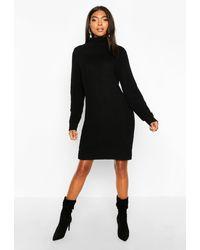 Boohoo - Womens Tall Soft Knit Roll Neck Sweater Dress - Lyst