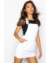 Boohoo Denim Overall Pinafore Dress - White