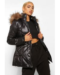 Boohoo Faux Fur Trim Hooded Quilted Puffer Coat - Black