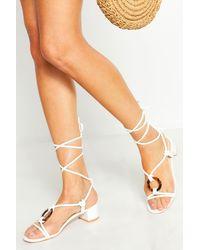 0455192ae79fe Boohoo Womens Low Block Tortoise Ring Heel Sandals - White - 5