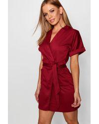 Boohoo - Petite Obie Tie Wrap Dress - Lyst