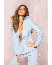 Boohoo Occasion Organza Frill Double Breasted Blazer - Blue