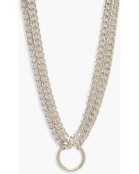 Boohoo Plus O-ring Detail Chain Choker - Metallic