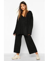 Boohoo Oversized Slouchy Knitted Deep V Neck Two-piece Set - Black
