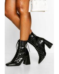 Boohoo Womens Schuhstiefel Mit Schnürung Und Blockabsatz - Schwarz