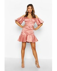 Boohoo - Volume Sleeve Rouched Skirt Satin Dress - Lyst