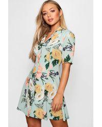 Boohoo - Revere Collar Button Through Flippy Shirt Dress - Lyst