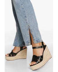 Boohoo Womens Sandalen Mit Keilabsatz - Schwarz