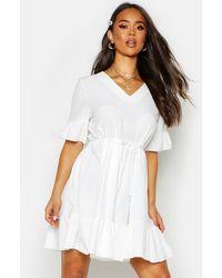 Boohoo - Ruffle Sleeve Smock Dress - Lyst