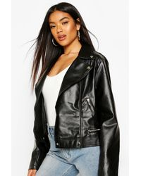 Boohoo Faux Leather Moto Jacket With Quilt Detail - Black