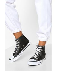 Boohoo High Top Lace Up Sneakers - Black