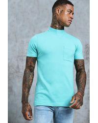 Boohoo T-shirt à col allongé coupe fluide - Bleu