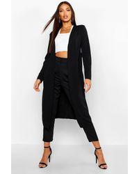 Boohoo Womens Ruched Waist Maxi Duster Jacket - Black