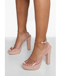 Boohoo Wide Fit Clear Chunky Platform Heels - Natural