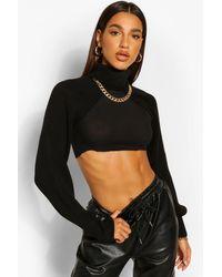 Boohoo Roll Neck Knitted Sleeve Warmer - Black