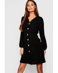 0cd024d4e4 Lyst - Boohoo Waist Detail Satin Dress in Black