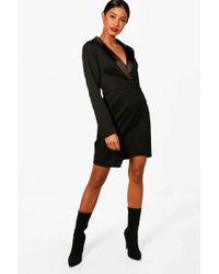 Boohoo - Wrap Over Tuxedo Dress - Lyst