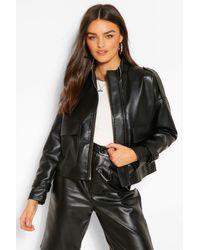 Boohoo Oversized Boxy Faux Leather Jacket - Black