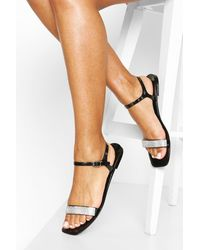 Boohoo Diamante Strap Jelly Sandals - Black