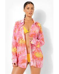 Boohoo Camisa De Playa Con Estampado Tropical - Rosa