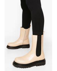 Boohoo Croc Calf High Chelsea Boots - White