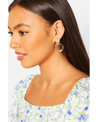 Boohoo Coin Detail Ring Statement Earring - Metallic