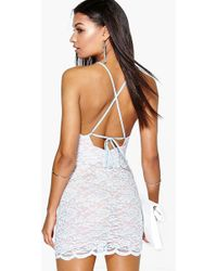 Boohoo - Sally Lace Strappy Back Bodycon Dress - Lyst