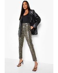Boohoo Snake Leather Look Skinny Trouser - Grey