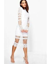 Boohoo Boutique Lace Panelled Midi Dress - White