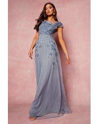 Boohoo Womens Bridesmaid Handverziertes Maxikleid Mit Schleife - Blau