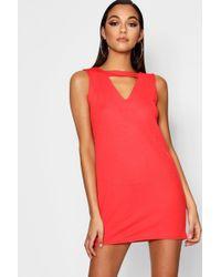 Lyst - Boohoo Plunge Choker Shift Dress in Red 5c4aa686f