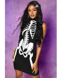 Boohoo Halloween Skeleton High Neck Sleeveless Mini Dress - Black