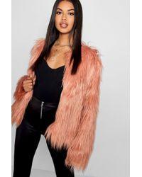 Boohoo - Shaggy Faux Fur Coat - Lyst