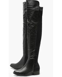 Boohoo Croc Over The Knee High Boots - Black