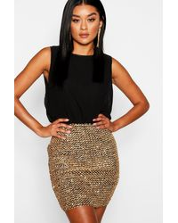 Boohoo - 2 In 1 Chiffon Top Sequin Skirt Bodycon Dress - Lyst