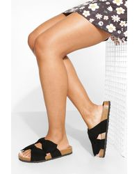Boohoo Wide Width Double Bow Footbed Slider - Black
