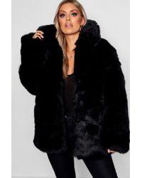 Boohoo - Plus Panelled Faux Fur Coat - Lyst