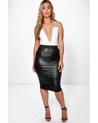 Boohoo Plus Pu Midi Skirt - Black