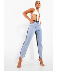 Boohoo Colour Block Fray Hem Rigid Skinny Jeans - Blue