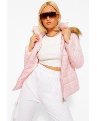 Boohoo Petite High Shine Faux Fur Trim Hooded Coat - Pink